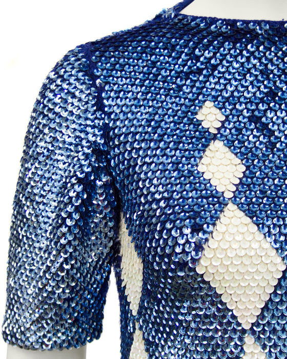 Navy and Cream Paillette Harlequin Argyle Sweater