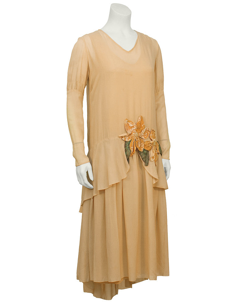 Peach Chiffon and Velvet Flapper Dress and Hat