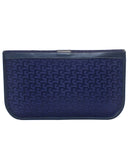 Navy Logo Jacquard and Leather Clutch