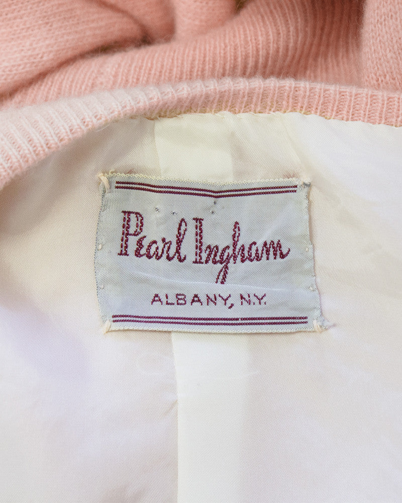 Pink Cashmere Cardigan with Velvet and Pearl Applique