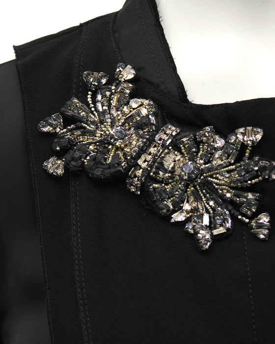 Black Jacket with Rhinestone Flowers