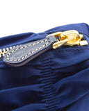 Blue Ruched Nylon Clutch