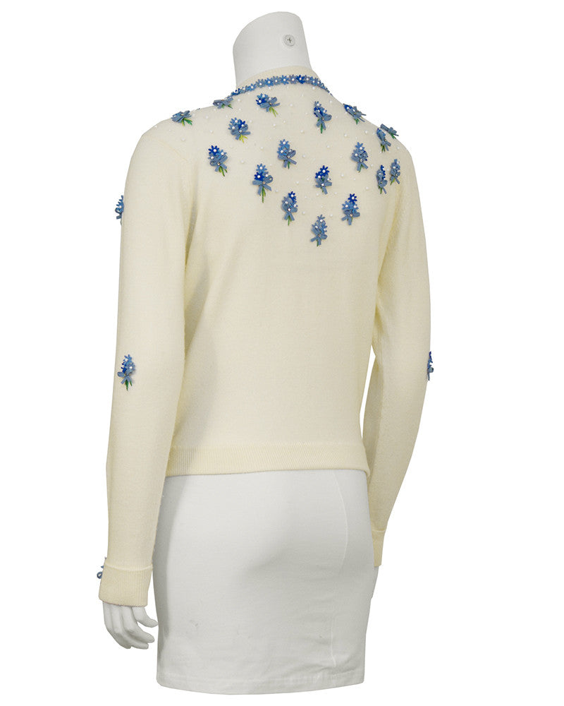 Cream Cardigan with Blue Flowers