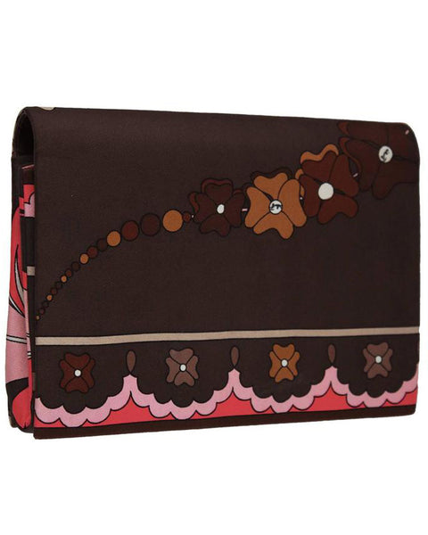 Brown and Pink Printed Silk Clutch