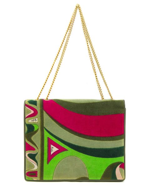 Green and Pink Velvet Evening Bag