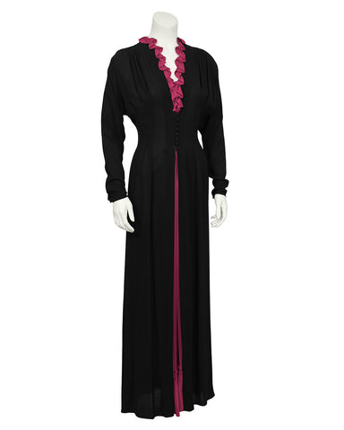 1970's Black Moss Crepe Gown with Fuchsia Ruffle Detail