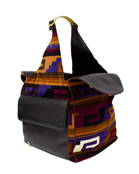 Aztec print square tote bag