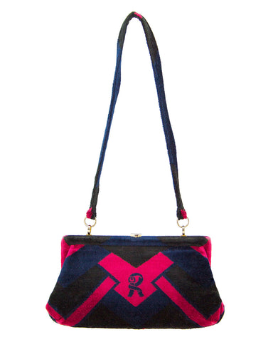 Navy and Red Velvet Handbag