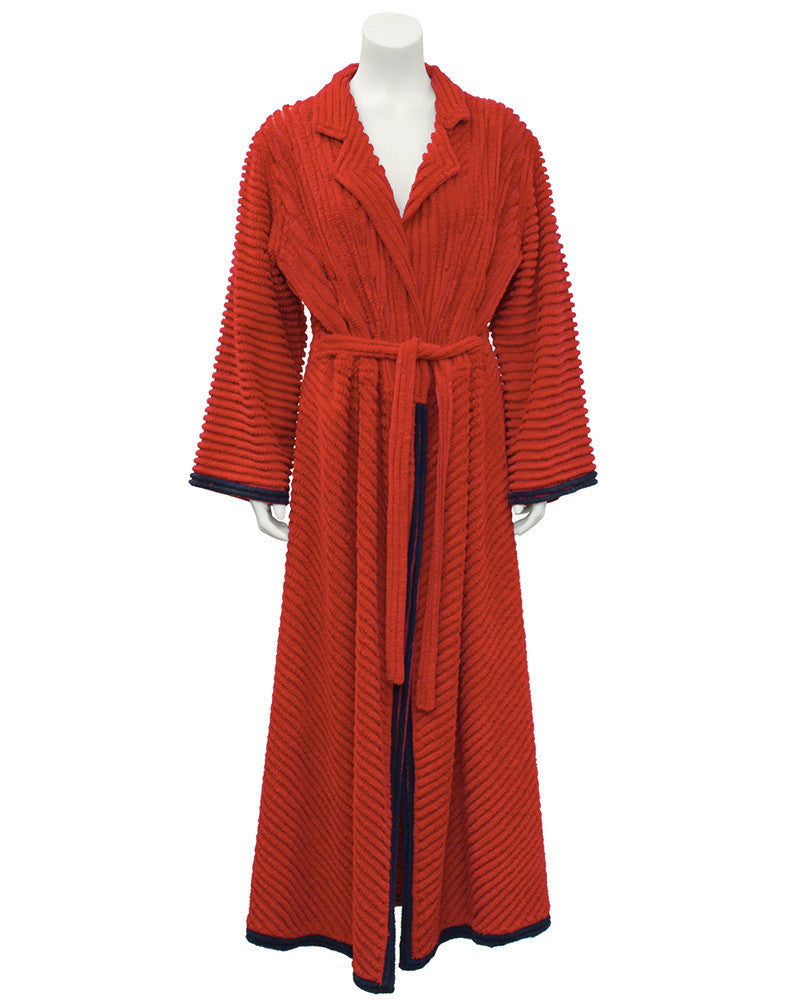 Red Chenille Robe With Peacock