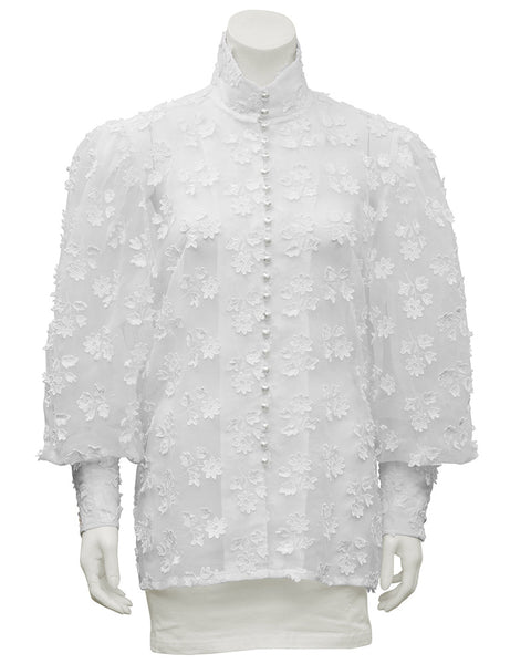 White Floral Applique Blouse
