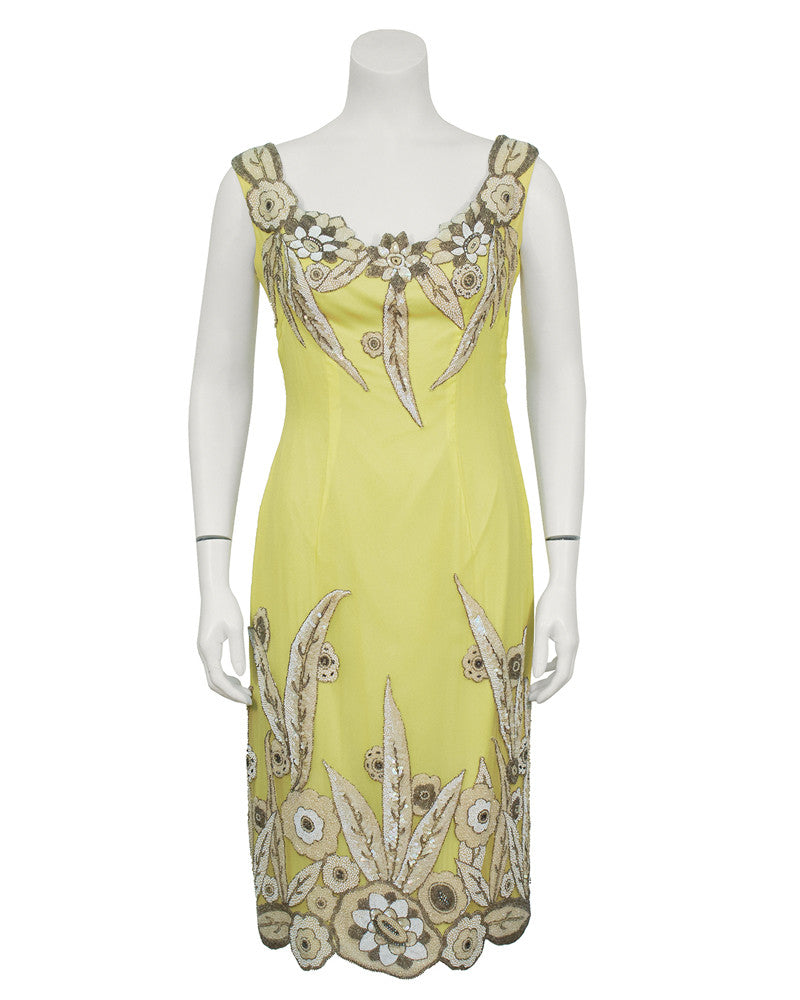 Yellow Demi Couture Silk Dress With 1920's Beading