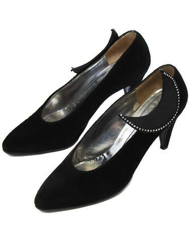 Black Velvet Pumps with Moon Applique