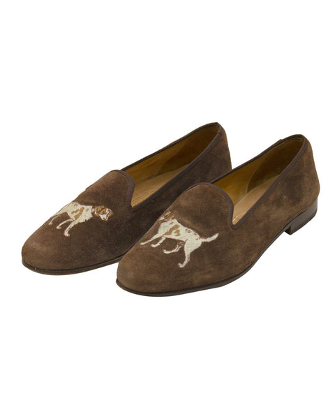 Brown Suede Slippers with Dog Motif