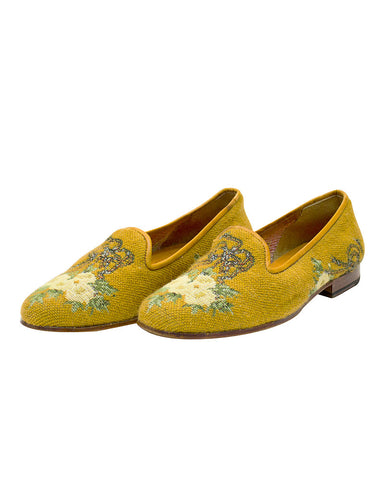 Floral Pattern Needlepoint Slippers