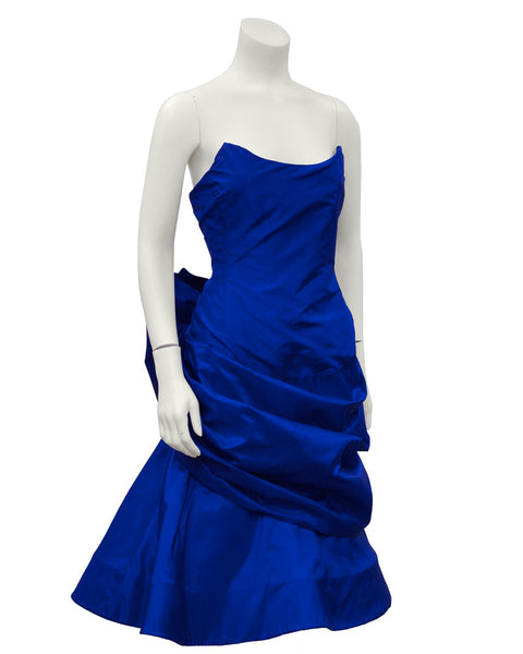 Royal Blue Silk Taffeta Cocktail Dress With Back Bow and Crinoline