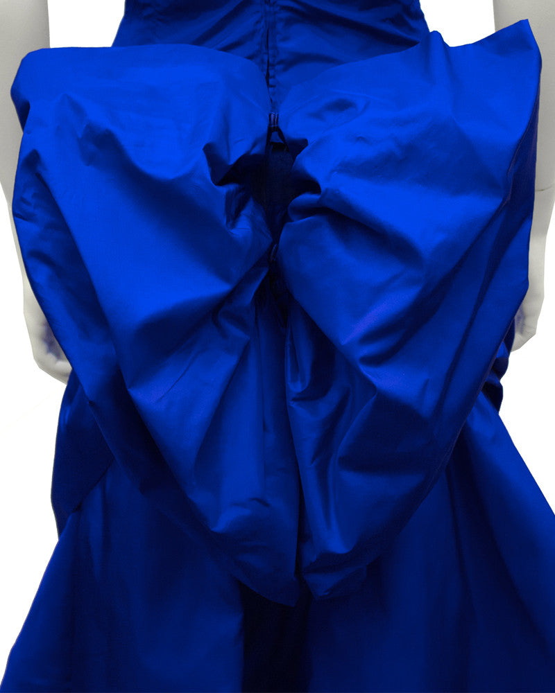 Blue Silk Taffeta Cocktail Dress With Back Bow and Crinoline