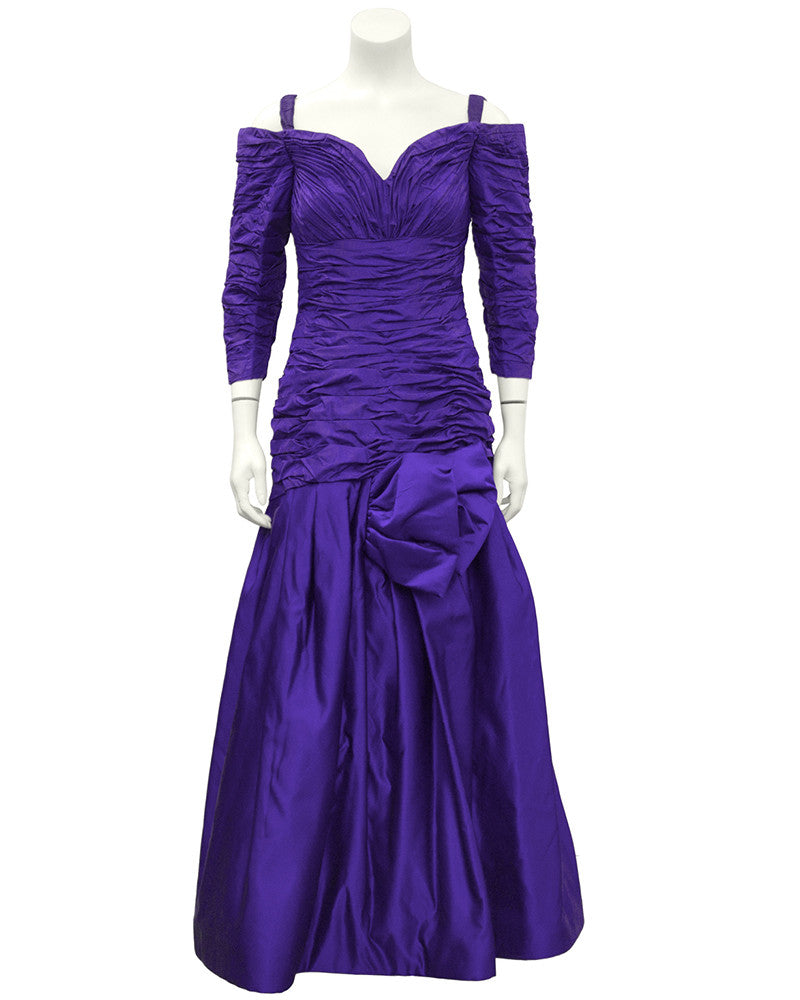 Purple Taffeta Off-The-Shoulder Evening Gown