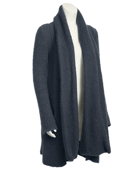 Grey Slate Cardigan with Scarf