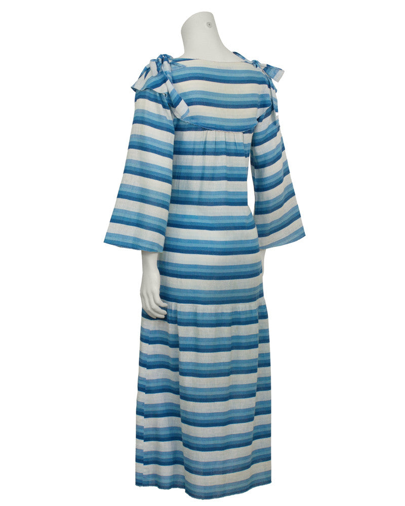 Blue Striped Peasant Dress