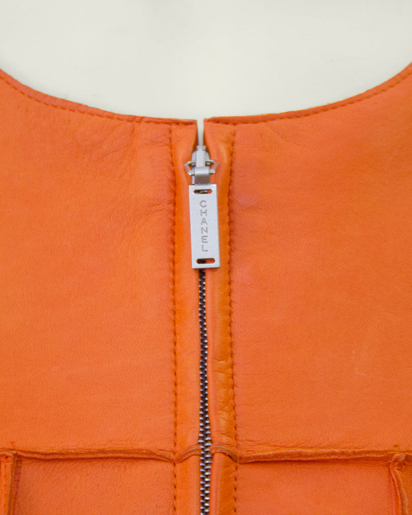 Orange Cropped Leather Jacket