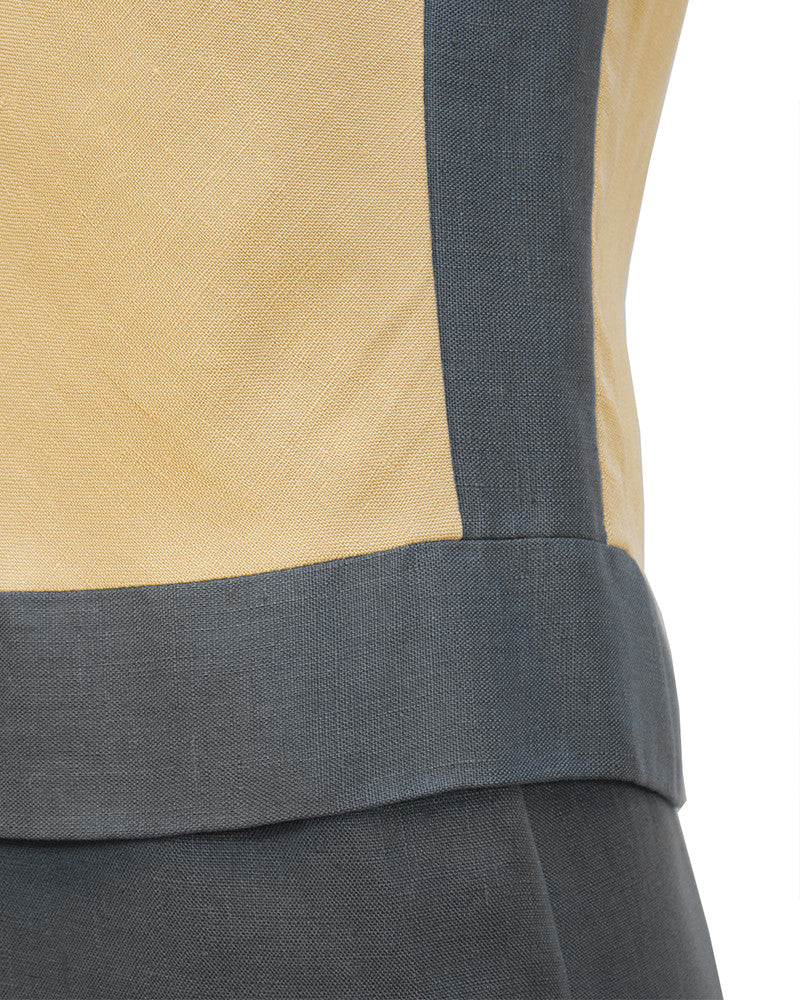Grey and Tan Linen Shift Dress