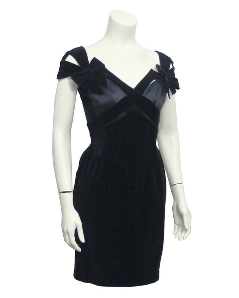 Black Velvet & Satin Cut Out Dress