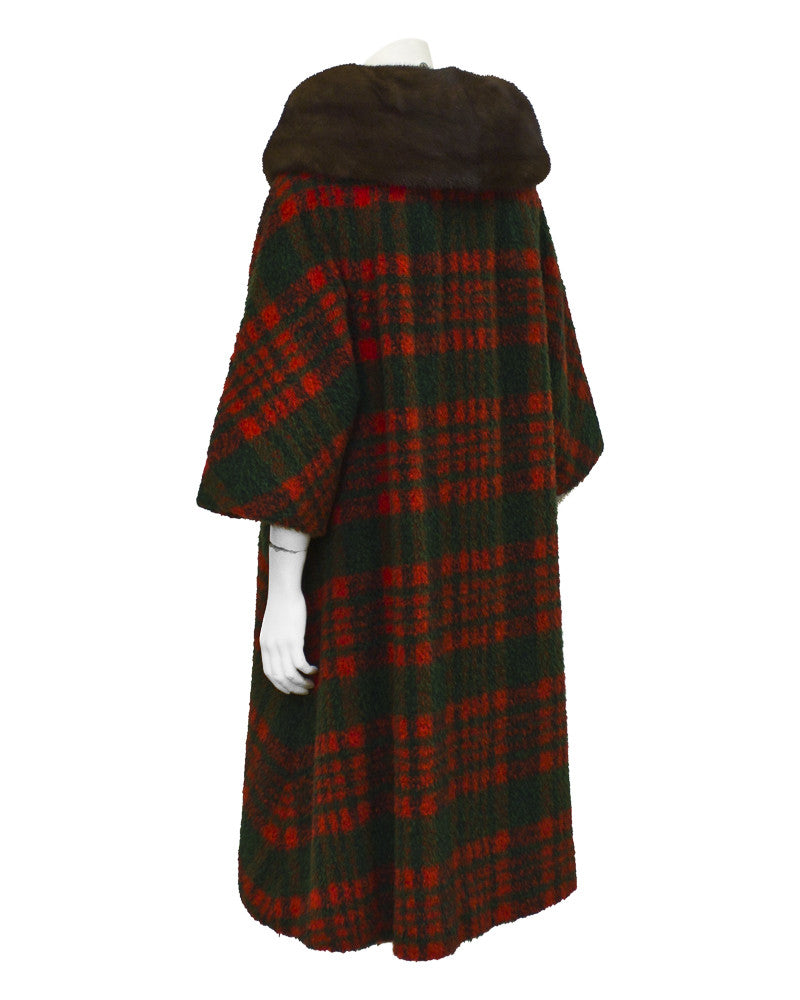 Orange & Green Tartan Swing coat with fur collar