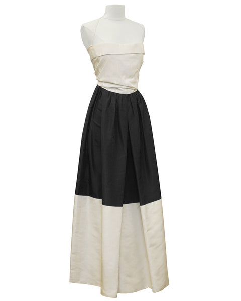 Black and Cream Silk Taffeta Strapless Gown