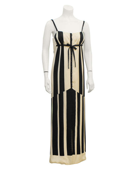 Black & White Abstract Stripe Silk Gown