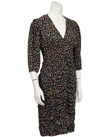 Black Floral Ruched Dress
