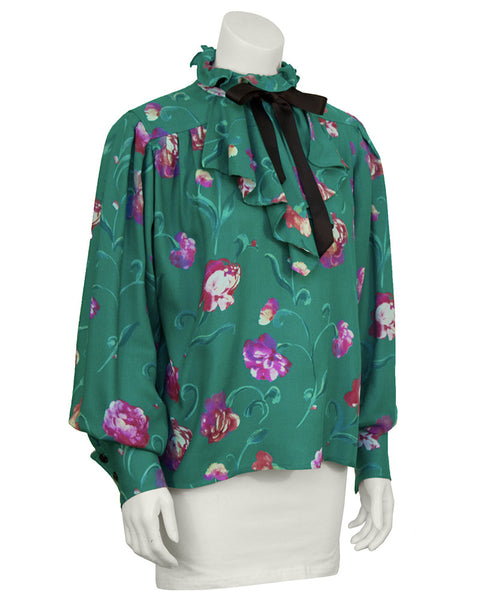 Green Floral Shirt with Necktie