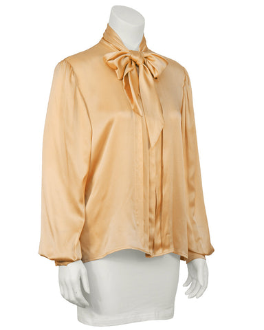 Blush Peach Silk Neck Tie Blouse
