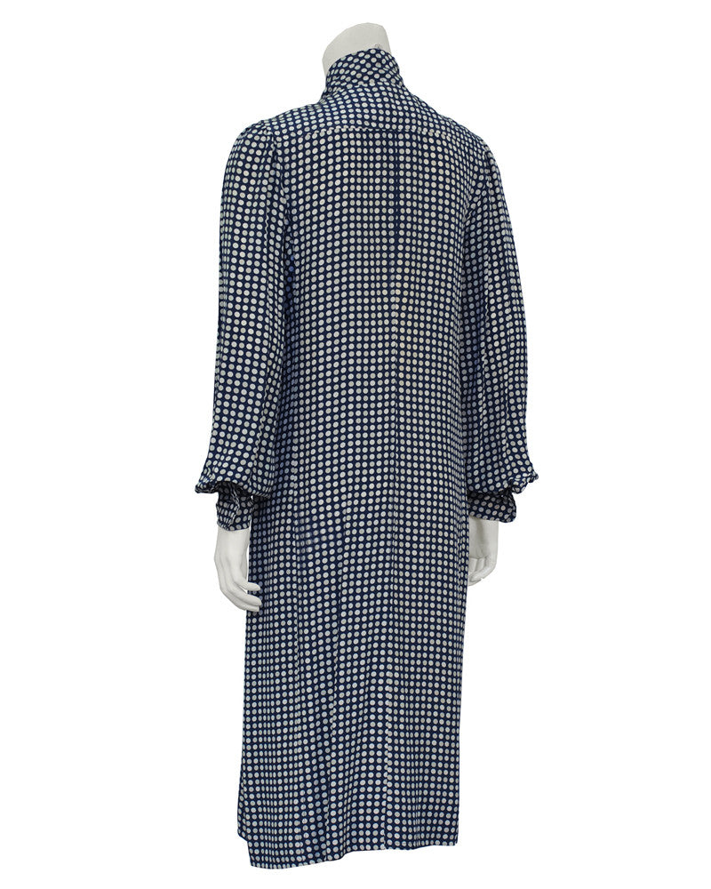 Polka Dot Silk Day Dress With Bow