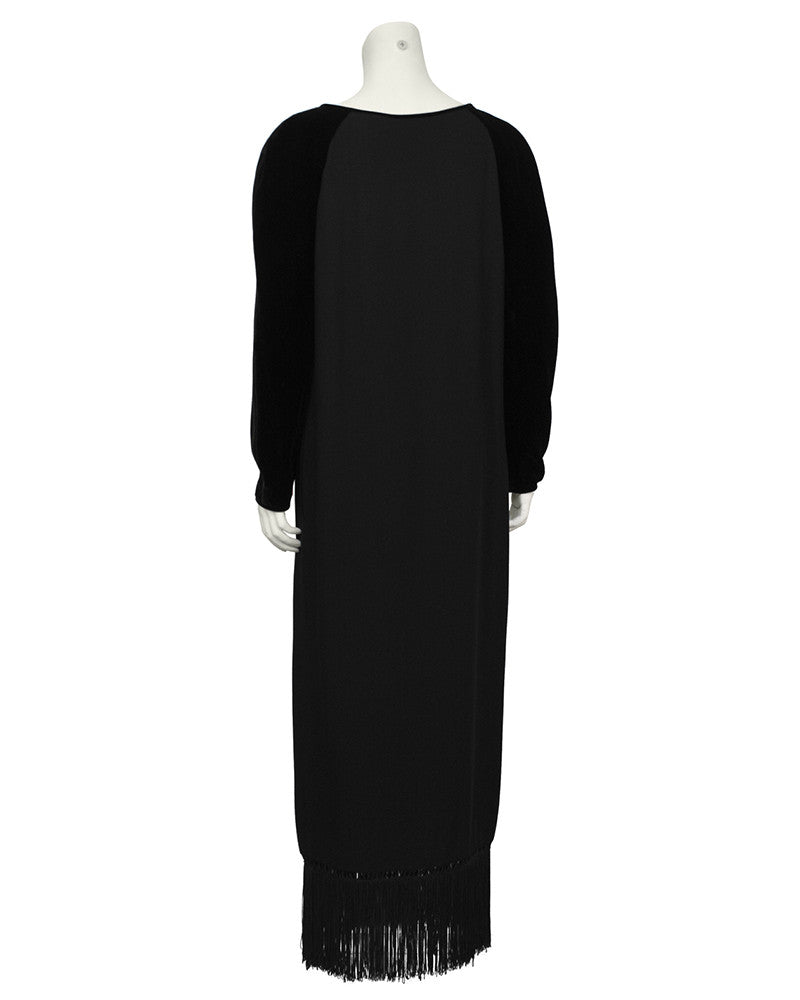 Black Velvet and Crepe Gown