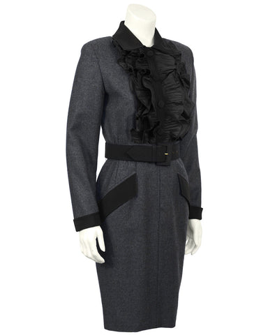 Grey Wool Dress with Belt