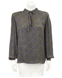 Grey Printed Silk Blouse