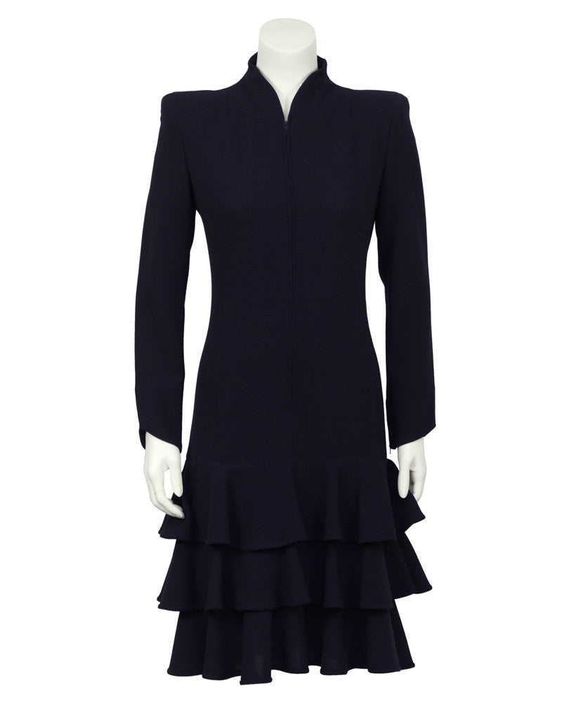 Navy Crepe Long Sleeve Drop Waist Dress