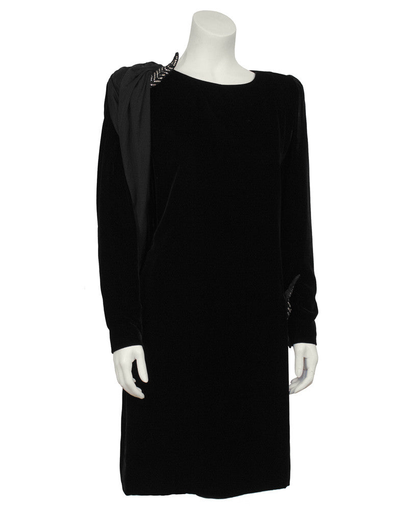 Black Velvet Cocktail Dress With Jersey Sash