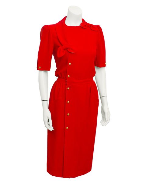 Red Day  Dress with Bow Detail