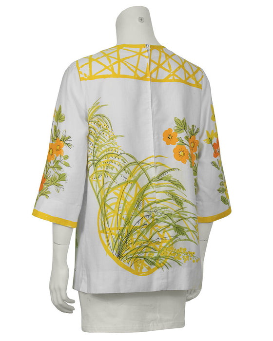 White and Marigold Cotton Blouse