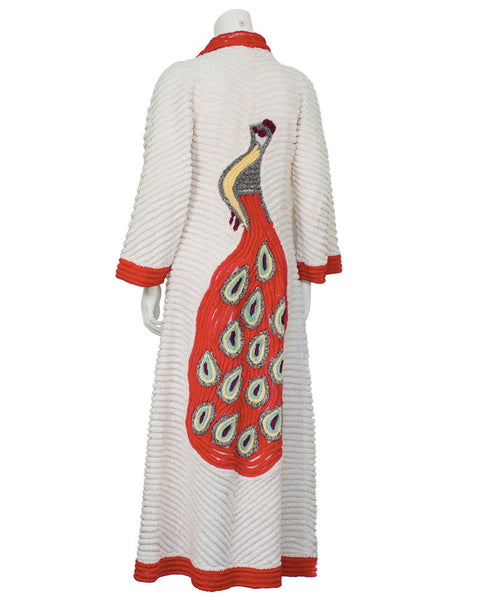 White Chenille Robe with Peacock