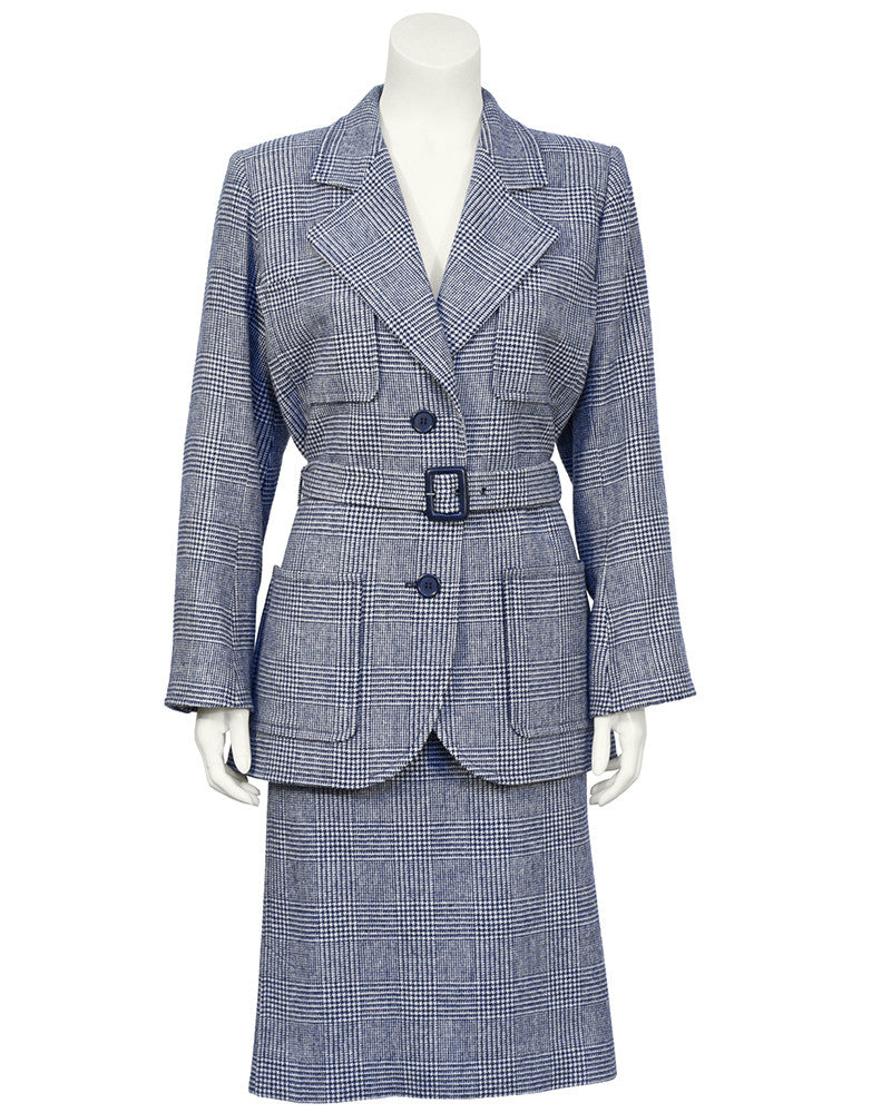Blue Houndstooth Wool Safari Suit