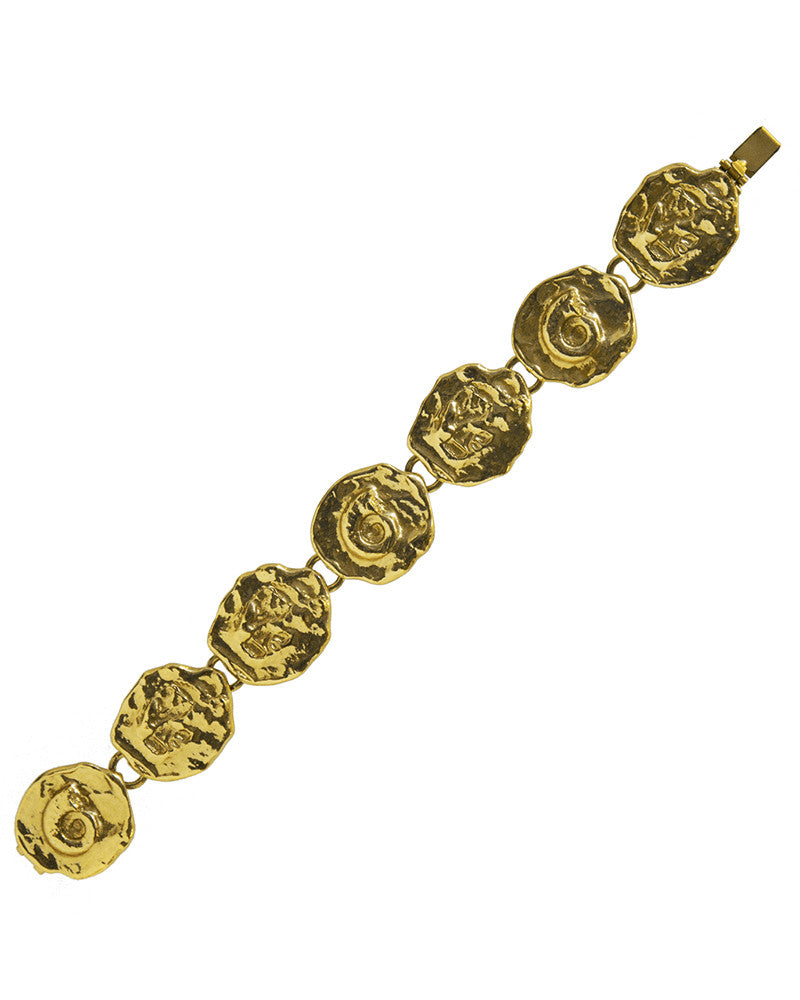 Gold Abstract Medallion Bracelet