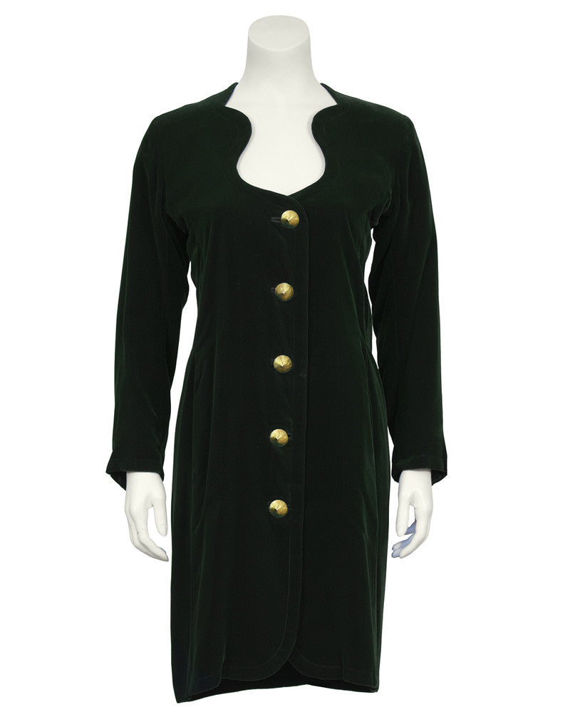 Green Velvet Dress with Gold Buttons