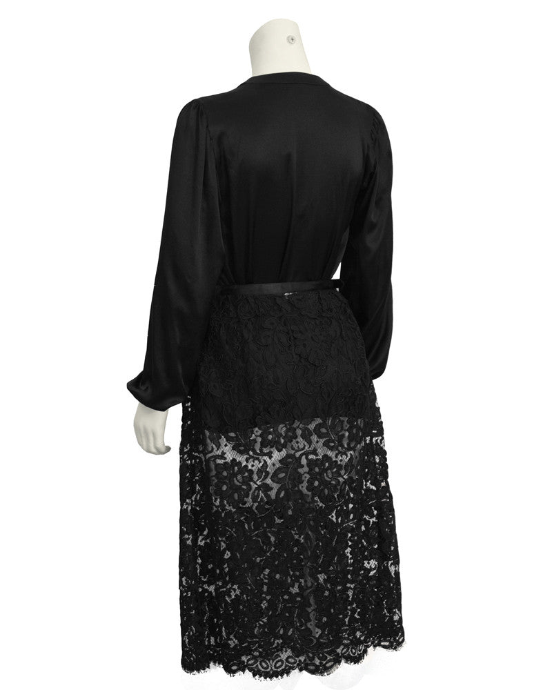 Black Satin Tie Top and Lace Skirt Duo