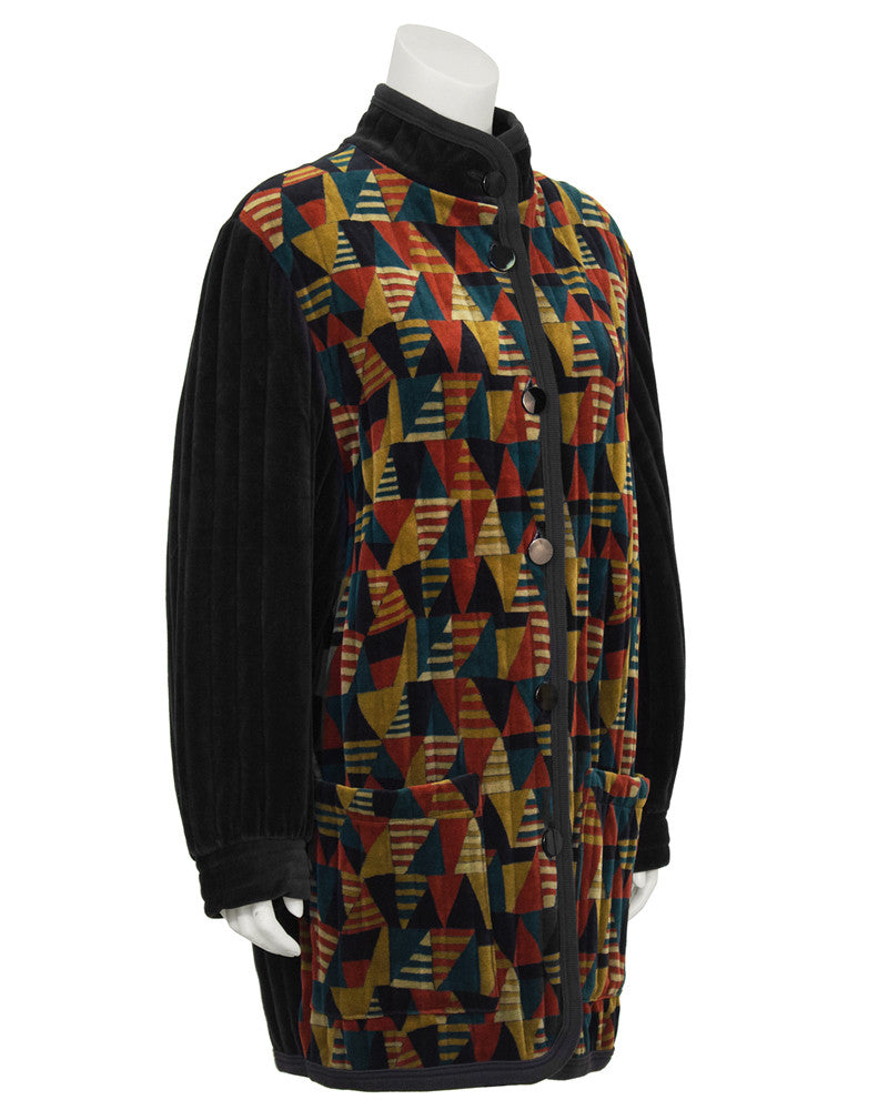 Multi color Quilted Velour Car Coat