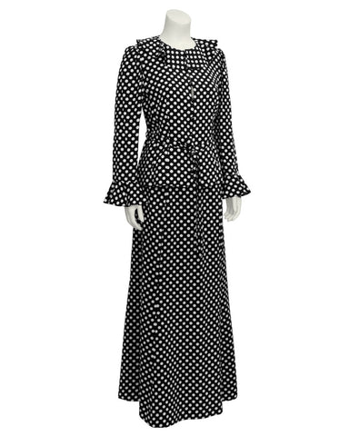 Black and White Polka Dot Skirt Set