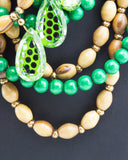 Green & Brown Multi Strand Beaded Necklace
