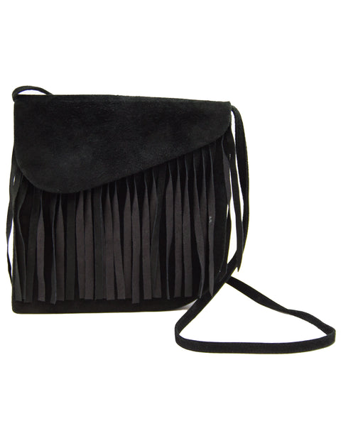 Black Suede Bag with Fringe