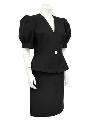Black Cotton Skirt Suit